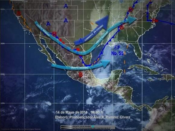 SMN pronostica lluvias en varios estados del país por frente frío 55 y entrada de aire húmedo