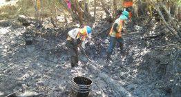 Continúa la limpieza en zona afectada por derrame de combustóleo