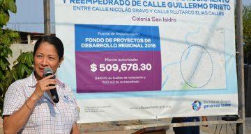 Yulenny Cortés entrega obras en San Isidro y López Mateos