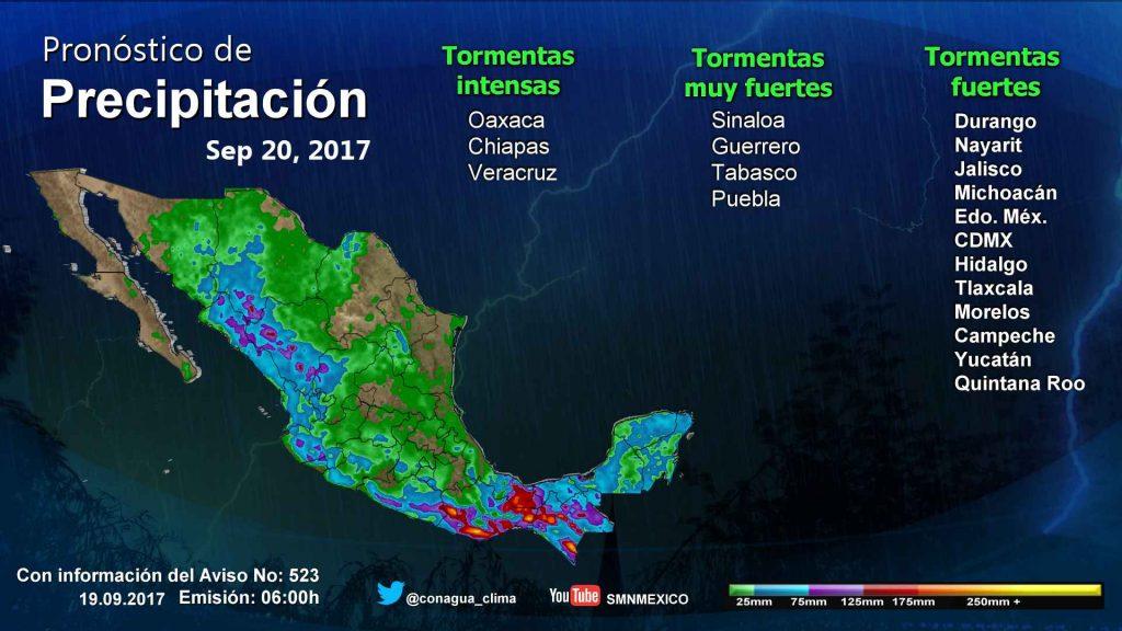 Tormentas afectarán a zonas de 27 estados del país