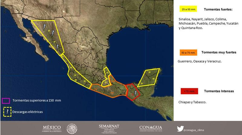 La tormenta Max se está debilitando rápidamente sobre el sur de México