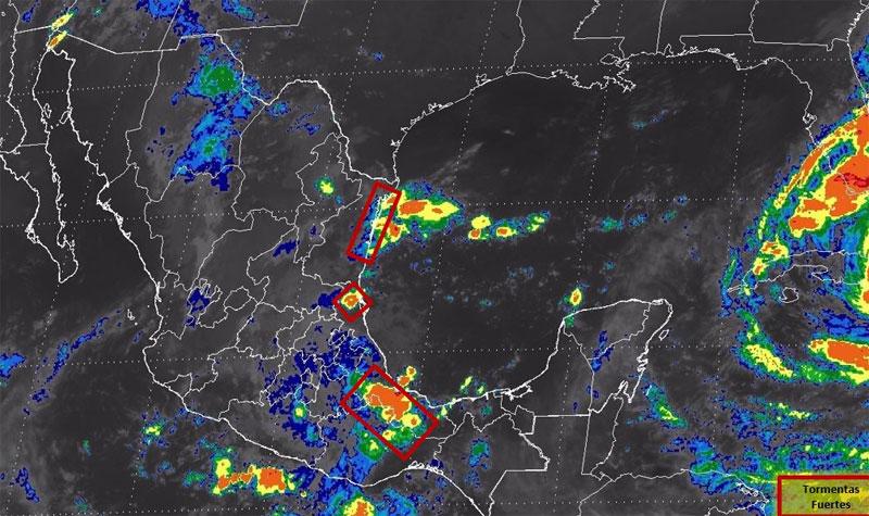 Se esperan tormentas intensas en estados del sur del Golfo de México