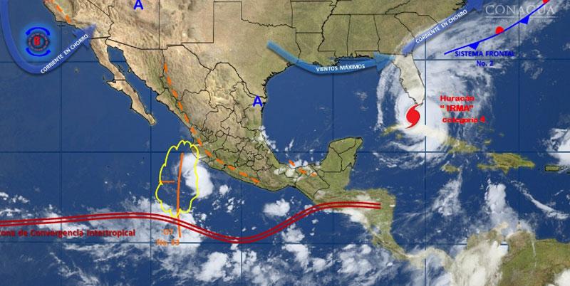 Prevén lluvias para sur y oeste del País