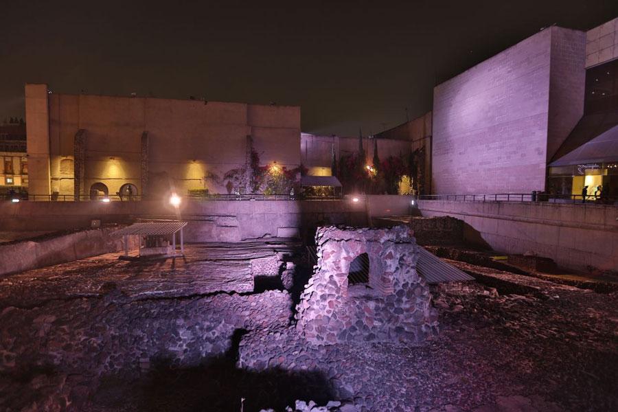 Inauguran el sistema de iluminación del Templo Mayor