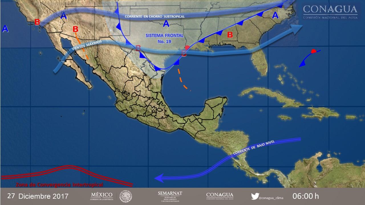 Prevé SMN bajas temperaturas en 19 estados y lluvias en 12