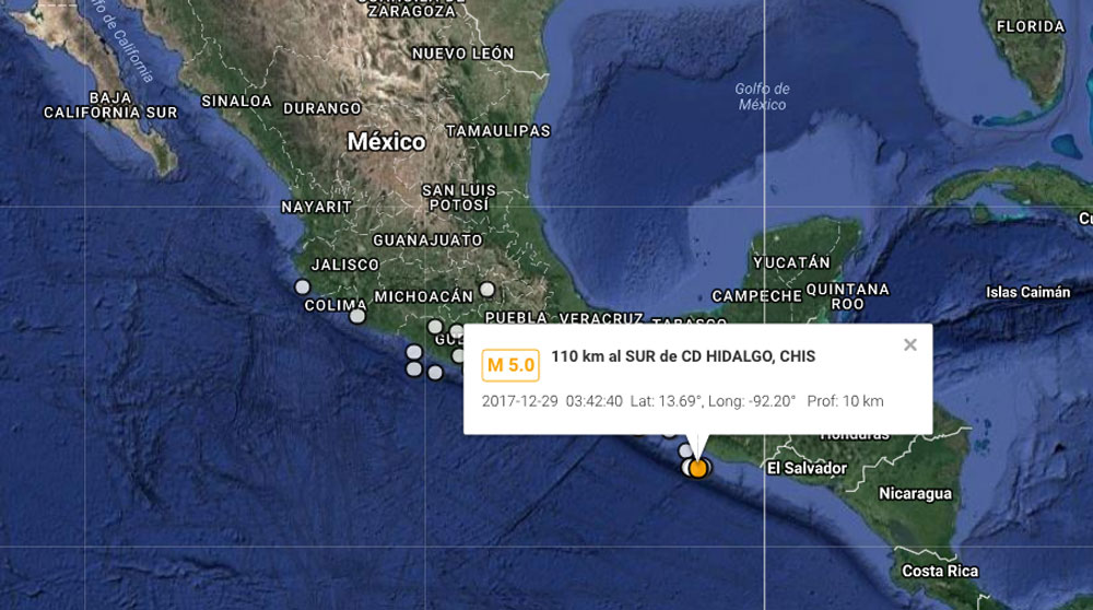 Reportan sismo magnitud 5.0 en Chiapas
