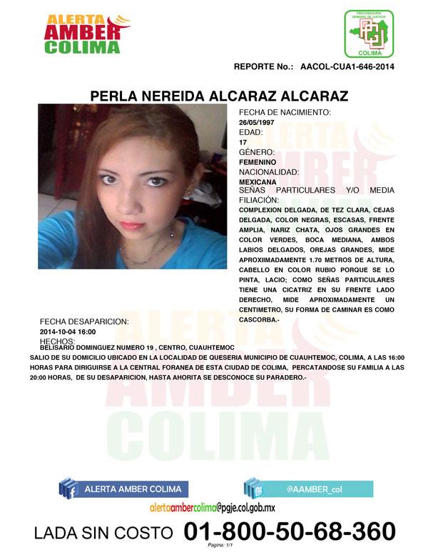 Alerta Amber para localizar a menor desaparecida en Cuauhtémoc, Colima