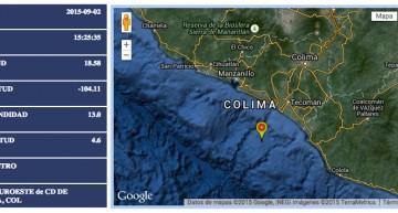 Sismo de magnitud 4.6 con epicentro en Armería, Colima