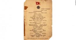 Menú de último almuerzo en el Titanic se vende por 88,000 dlrs en subasta EEUU