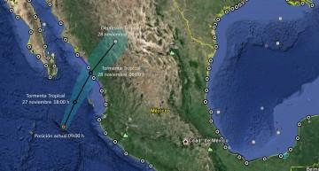 Zona de prevención por efectos de tormenta tropical, desde Sinaloa hasta Nayarit: SMN