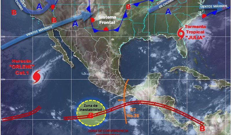Canales de baja presión provocarán lluvias en gran parte del país