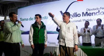 Virgilio Mendoza rindió protesta como líder PVEM