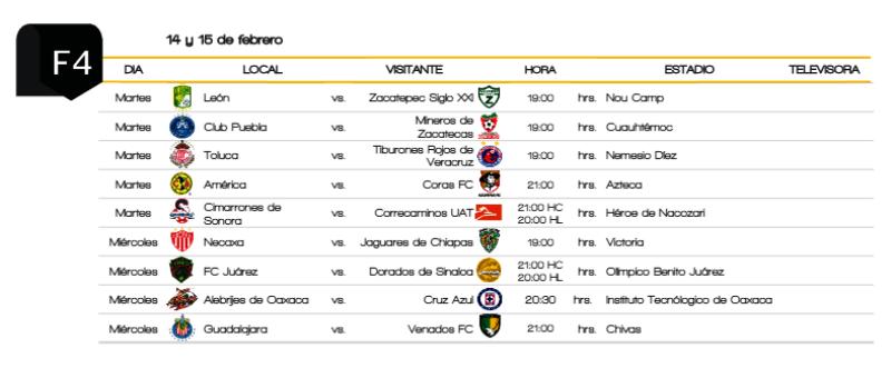 Copa Mx Semifinales 2016 Calendar | Calendar Template 2016
